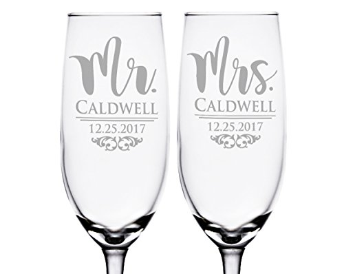 (Classy Mr and Mrs Champagne Glasses Personalized Set of 2 Registry Gift for Bride Groom Wedding Anniversary Celebratory Favor for Husband Wife)
