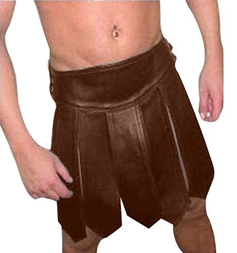 [BROWN Mens REAL Pure LEATHER Gladiator Kilt GAY Clubwear LARP - (K1-BRW) W34