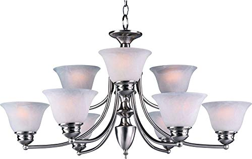 Maxim 2685MRSN Malaga 9-Light Chandelier, Satin Nickel Finish, Marble Glass, MB Incandescent Incandescent Bulb , 60W Max., Dry Safety Rating, Standard Dimmable, Opal Glass Shade Material, Rated Lumens
