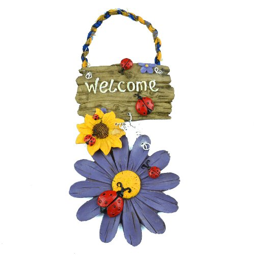 Purple Beautiful Small Flowers and Ladybirds Resin Resin Hand Painted Welcome (Hand Painted Welcome Signs)