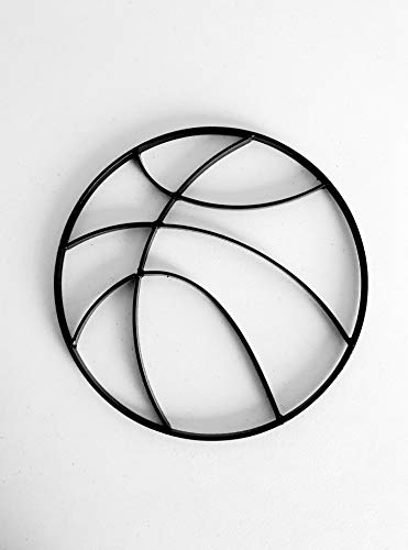 (Modern Glossy Black Metal Basketball Wall Art Hanging - Boy's Sports Fan Themed Bedroom Nursery - Man Cave Decor)