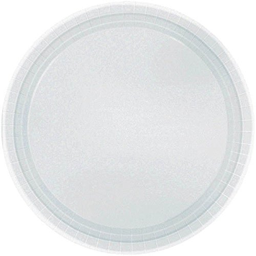 Party Ready Disposable Round Luncheon Plates Tableware, Silver, Paper , 9