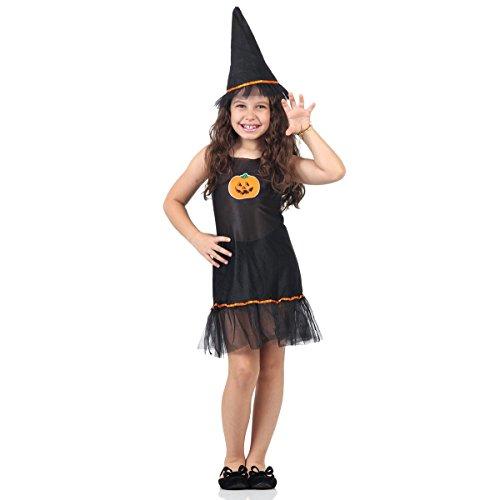 Fantasia Vestido Abobora Infantil 10355-G Sulamericana Fantasias Preto G 10/12 Anos