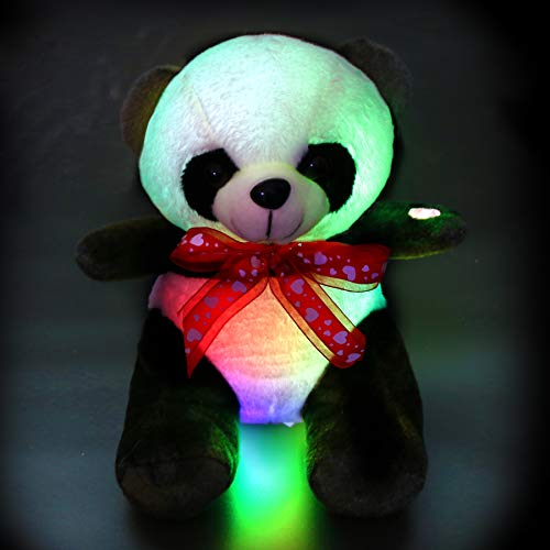 Athoinsu LED Stuffed Animal Light up Panda Plush Toy with Magic Colorful Night Lights Glow in Dark Gifts for Kids Friends, 9.5''