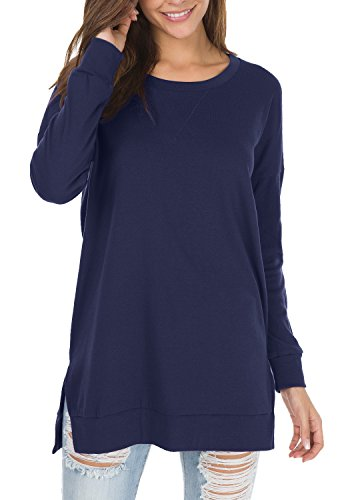 levaca Womens Oversize Plain Side Split Loose Casual Baggy Pullover Deep Blue L