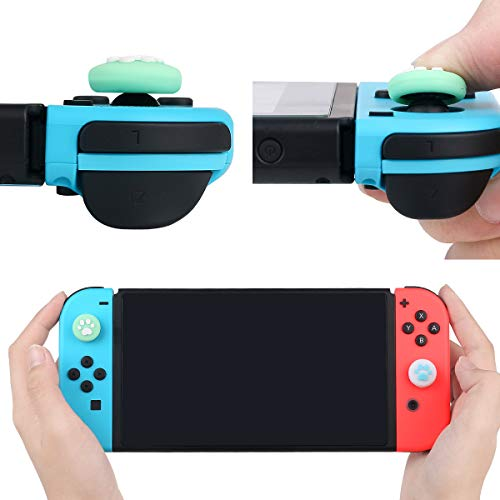Green Leaf Design Thumb Grip Caps, Joystick Cap for Nintendo Switch & Lite Controller Analog Stick Caps, Soft Silicone Cover for Joy-Con Controller (Blue & Green)