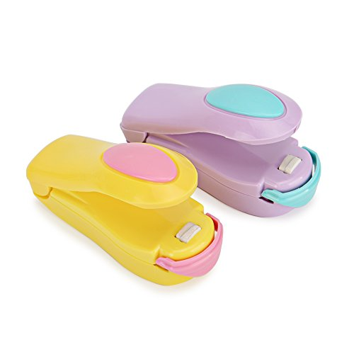 Sarissa Handheld Size Mini Bag Sealers Portable Heat Sealing Machine for Food Storage Reseals Snack Bags or Travel – 2 Pack (Yellow and Purple)