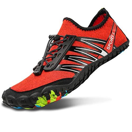 (L-RUN Women Water Shoes Mens Walking Slip On Flat Driving Shoes Red Men 13 M US)