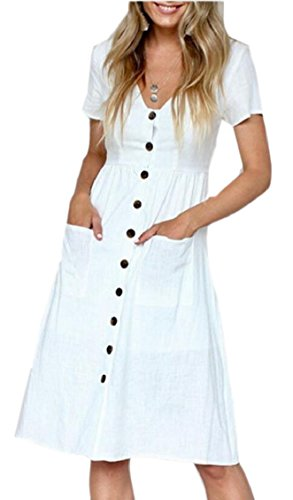 Brach A Line Sleeve Jaycargogo Summer Dress Short White Front Womens Button npna8qHw
