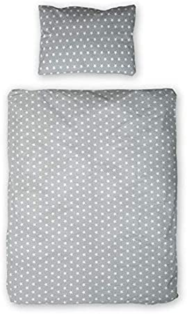 set complet 100x135 et 90x120 au choix en coton 2 pi/èces Literie pour b/éb/é Parure de lit enfant, 2 pi/èces - 90x120, Blanc avec des grises /étoiles avec des bandes