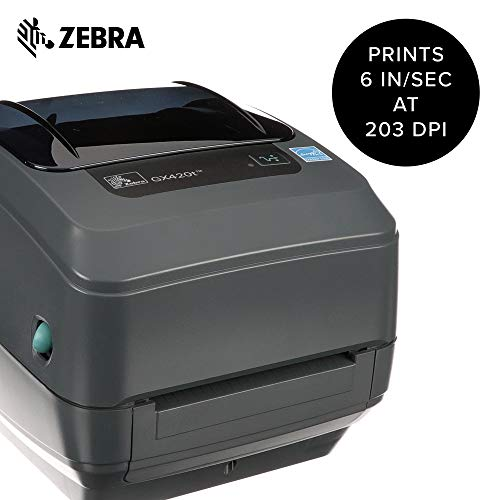 Zebra - GX420t Thermal Transfer Desktop Printer for Labels, Receipts, Barcodes, Tags, and Wrist Bands - Print Width of 4 in - USB, Serial, and Parallel Port Connectivity by Zebra (Image #1)