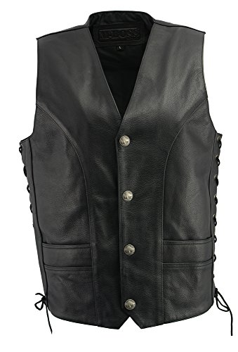 M Boss Apparel BOS13507 Mens Black Side Lace Leather Vest with Buffalo Nickel Snaps - - Nickel Vest Buffalo