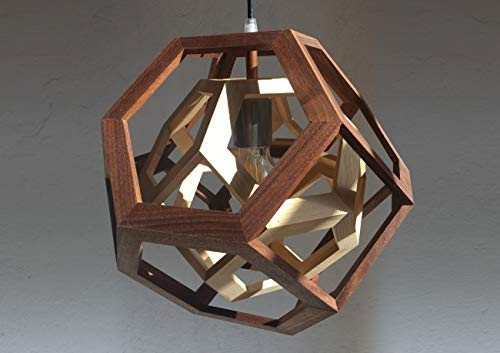 TRAPPED pendant lamp in walnut and ash wood, table lamp, double truncated octahedron ()