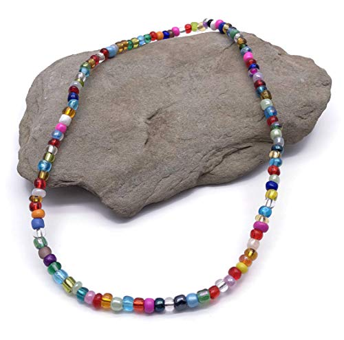 XX Large Multi-Color Glass Seed Bead Anklet on Elastic - Colorful Handmade Design - XXL 13 inches