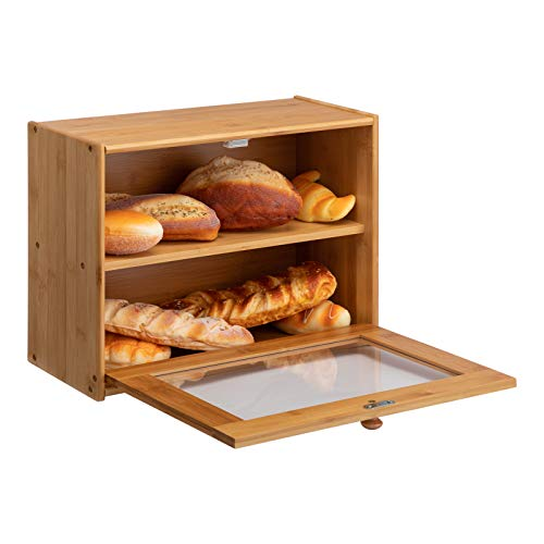 PARANTA Bamboo Bread Box 2-Layer Large Capacity Countertop Bread Storage With Transparent Window, Suitable For Kitchen…