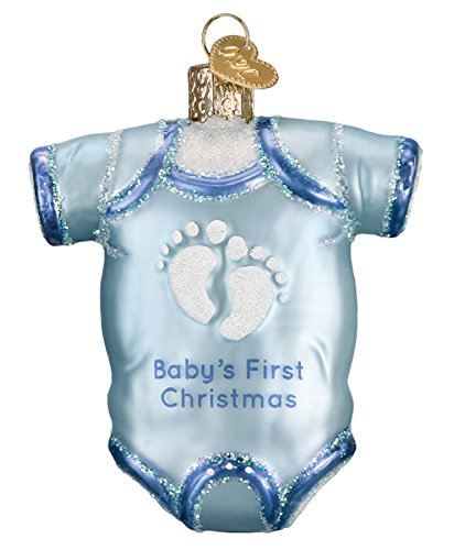 Old World Christmas 32339 Ornament, Blue Baby Onesie