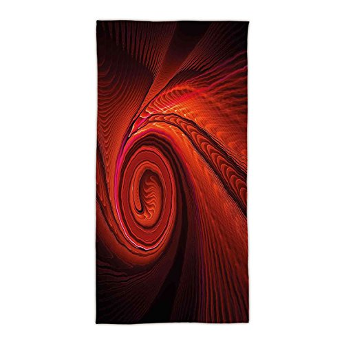 "idouxi 31.49"" W x 62.99"" L Cotton Microfiber Bath/Hand Towel,Spires Decor,Spooky Spiral Form in Darkness with Digital Effects Perplexed Dreamy Place Image,Red,Ultra Soft,For Hotel Spa Beach Pool Bath"