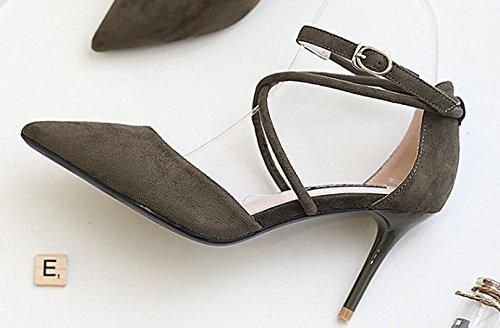 Ajunr Moda/elegante/Transpirable/Sandalias Con fino 8cm tacones altos Las tiras transversales Zapatos de punta sexy Toda la correspondencia Una hebilla verde ,39 34