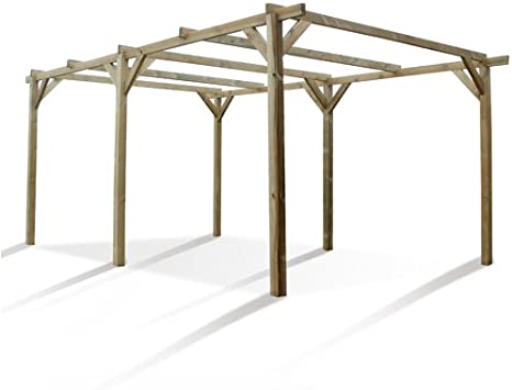 Cochera de 3 x 5 m en madera de pino tratada en autoclave, clase 3 FCS