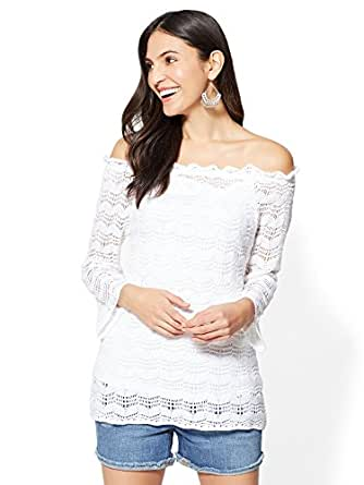 New York & Co. Women's Off-The-Shoulder Open-Stitch Sweater Xsmall Paper White