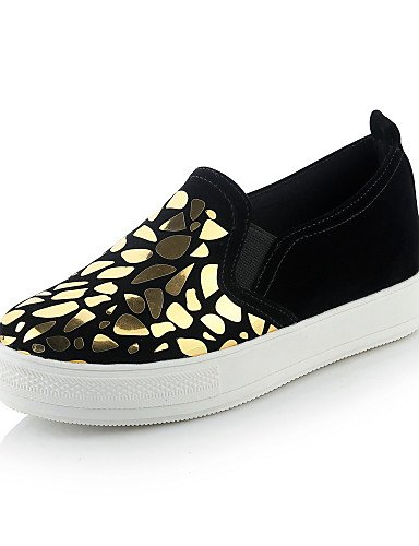 ZQ gyht Zapatos de mujer-Tacón Plano-Punta Redonda-Mocasines-Casual-Sintético-Negro / Blanco / Oro , white-us8.5 / eu39 / uk6.5 / cn40 , white-us8.5 / eu39 / uk6.5 / cn40 black-us1.5 / eu31 / uk0.5 / cn30