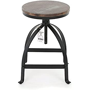 IKAYAA Adjustable Height Swivel Kitchen Dining Chair Round Bar Stool Industrial Style Natural Pinewood and Steel  sc 1 st  Amazon.com & Amazon.com: IKAYAA Adjustable Height Swivel Kitchen Dining Chair ... islam-shia.org