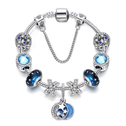 XOYOYZU Family Tree Charms Bracelet for Girls and Women Murano Glass Beads Butterfly Flower Charms Amethyst Bracelets (Blue Crystal - Bracelet Family Crystal