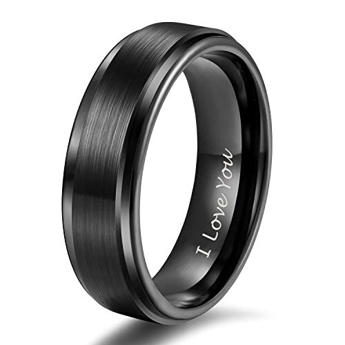 Shuremaster 6mm Tungsten Carbide Wedding Rings Men Women Black Brushed Engraved I Love You Comfort Fit Size 10 ()