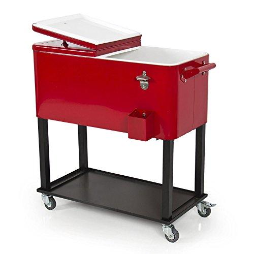 Patio Deck Cooler Rolling Outdoor 65 Quart Solid Steel Co...