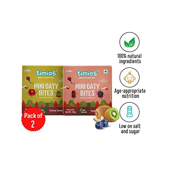 Timios Mini Oaty Bites | Mix Flavours | Healthy Snack for Kids | Natural Energy Food Product for Toddlers and Preschoolers | Nutritious and Ready to Eat for Children 18+ Months Pack of 2