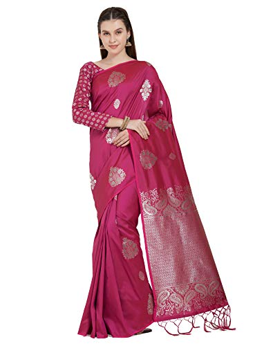 Viva N Diva Sarees for Women's Handloom Silk Dark Pink Woven Saree with Un-Stiched Blouse Piece,Free Size