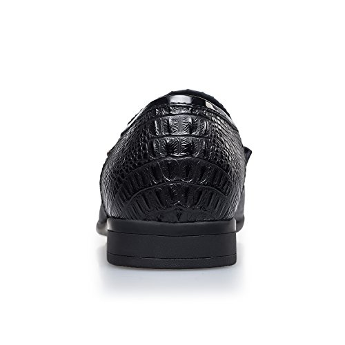 Dress print Black ZRO Men's with Leather Shoes Fashion Crocodile Casual B7t8nqtwZz