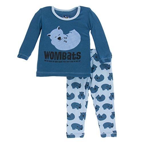 Kickee Pants Print Long Sleeve Pajama Set Pond Wombat (4T)
