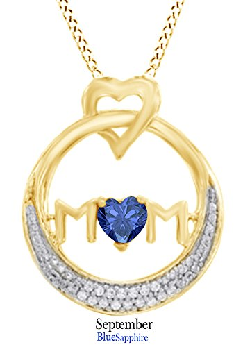 Heart Simulated Blue Sapphire & White Natural Diamond Accent MOM Circle Pendant in 14k Yellow Gold Over Sterling (Sapphire Heart Circle Pendant)