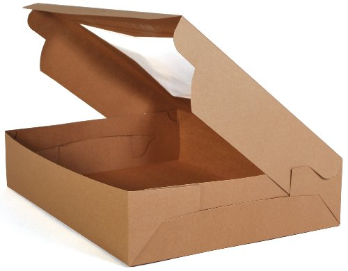 "Southern Champion Tray 23133K Kraft Paperboard Lock Corner Window Bakery Box, 19"" Length x 14"" Width x 4"" Height (Case of 50)"