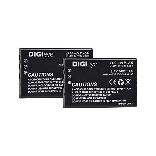 (DIGIeye 2 x 1400mAh NP-60 Replacement Battery for Fujifilm NP-60, Kodak KLIC-5000, Samsung SLB-1137, Olympus Li-20B and Fujifilm FinePix 50i, 601, F401, F410, F601, M603, Kodak EasyShare DX6490, DX744)