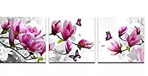Wieco Art Butterfly in Magnolia Canvas Prints Wall Art 3 Piece Purple Flowers Pictures Paintings for Living Room Bedroom Home Decorations Modern Stretched and Framed Grace Purple Floral Giclee Artwork (Art Wall Flowers And Butterflies)