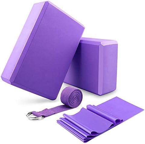 DINAPENTS Yoga Blocks 2 Pack and Yoga Strap Set with Yoga Elastic Resistance Bands, Yoga Blocks Set Stretch Strap for Yoga Beginner, Yoga Starter Kit for Women