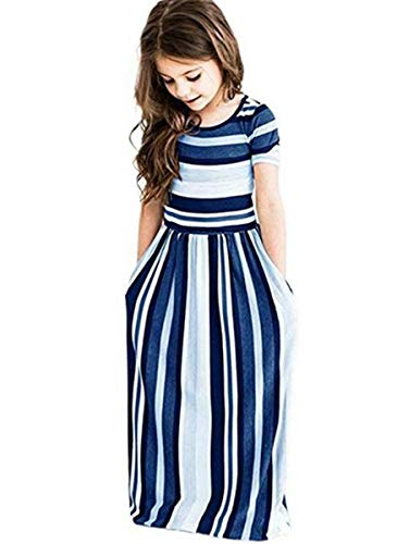 (Miss Bei Girl's Summer Short Sleeve Stripe Holiday Dress Maxi Dress with Pocket Size 0-7T,Long Sleeve has Arrived 3-9T!! (Stripe Blue, 8-9Years/160cm))