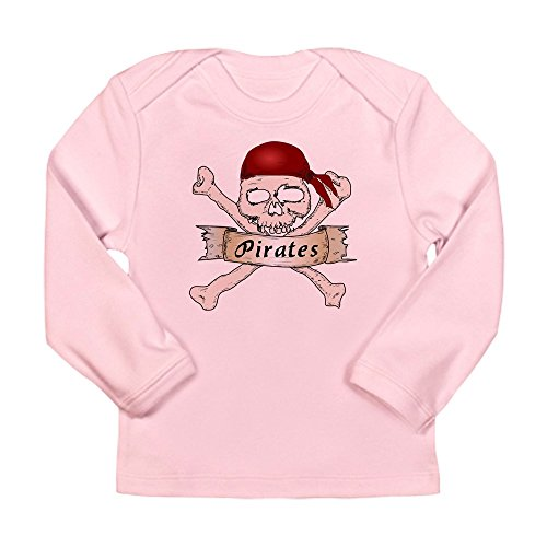 - Truly Teague Long Sleeve Infant T-Shirt Simply Pirates Skull & Crossbones - Petal Pink, 3 To 6 Months