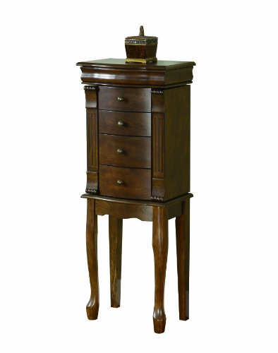 Walnut Armoire - Powell 741-319 Louis Philippe Jewelry Armoire, Walnut