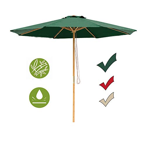- SUNNYARD 9 Ft Wood Patio Umbrella Bamboo Market Umbrella Outdoor Table Umbrella with Pulley Lift, 8 Ribs, Green