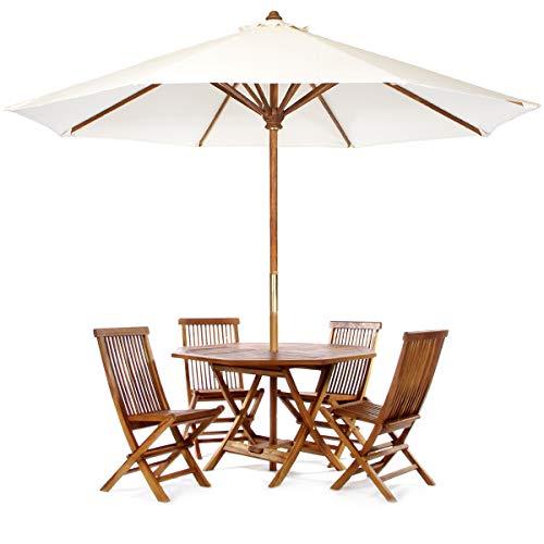 (All Things Cedar TT6P-O-W Teak Octagon Patio Table & Folding Chair Set with White Teak Market Table Umbrella, 6-Piece)