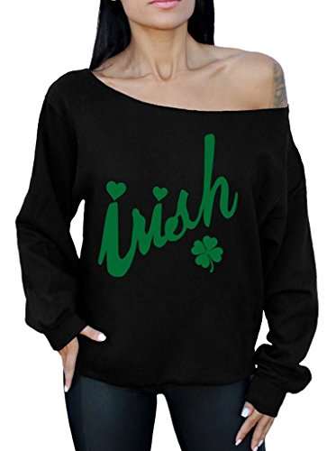 Awkward Styles Awkwardstyles Irish Off The Shoulder Oversized Sweatshirt ST Patrick's Day G S Black