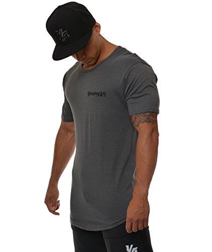 YoungLA Men's Basic Elongated Cotton Lightweight Muscle T-Shirts Tee Shirts 401 - Gray X-Large