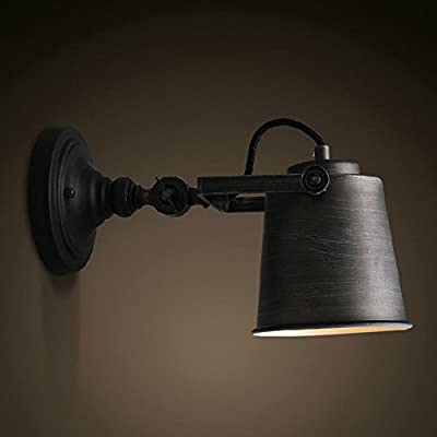 Sanyi Gray Rustic Adjustable Single Light Industrial Wall Sconce Fixture Lamp Home Decor Without Bulb