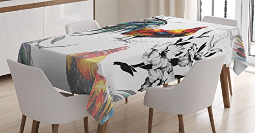 Ambesonne Gallus Tablecloth, Roosters Crowing Sound Silhouettes and Flowers Insect Butterfly Standing Plumage, Dining Room Kitchen Rectangular Table Cover, 52