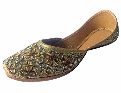 Khussa N Indian Jutti Mojari Kundan Step s mano dicono etnico Multi Scarpe a lavoro le Shoes Gold Gold donne da Punjabi T04TrZq