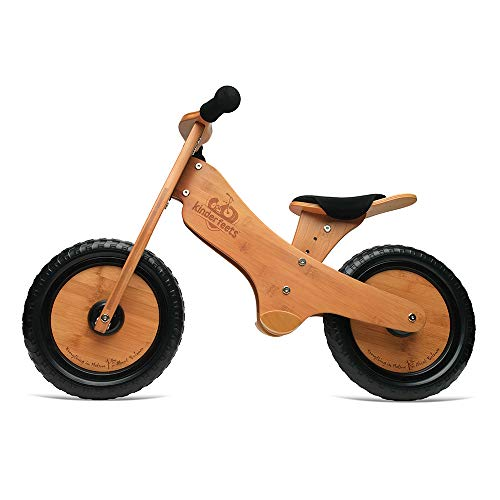 Bike Wooden Training - Kinderfeets, Bamboo Balance Bike, Adjustable Seat, Puncture Proof Tires, Pedal - Free Training Bicycle for Kids and Toddlers - Brown