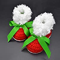 Crochet Red Christmas Booties for Baby's First Christmas - Soft Shoes for Infant-12mths